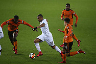 Jordan Ayew of Swansea city © in action. The Emirates FA Cup, 3rd round replay match, Swansea city v Wolverhampton Wanderers at the Liberty Stadium in Swansea, South Wales on Wednesday 17th January 2018.<br /> pic by  Andrew Orchard, Andrew Orchard sports photography.