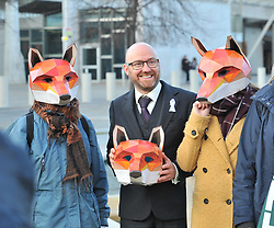 Scottish Greens co-convener Patrick Harvie MSP joins campaigners wearing fox masks demonstrated outside the Scottish Parliament in Edinburgh ahead of the public consultation on the proposed bill to outlaw fox hunting.<br /> <br /> © Dave Johnston/ EEm