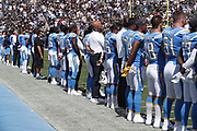 The Los Angeles Chargers in action during the NFL week 5 regular season football game against the Oakland Raiders on Sunday, Oct. 7, 2018 in Carson, Calif. The Chargers won the game 26-10. (©Paul Anthony Spinelli)