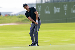 May 9, 2019 - Dallas, TX, U.S. - DALLAS, TX - MAY 09: Russell Henley blades a chip onto the 18th green during the first round of the AT&T Byron Nelson on May 9, 2019 at Trinity Forest Golf Club in Dallas, TX. (Photo by Andrew Dieb/Icon Sportswire) (Credit Image: © Andrew Dieb/Icon SMI via ZUMA Press)