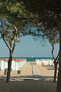 Beach huts on the Lido.Venice, Italy, Europe