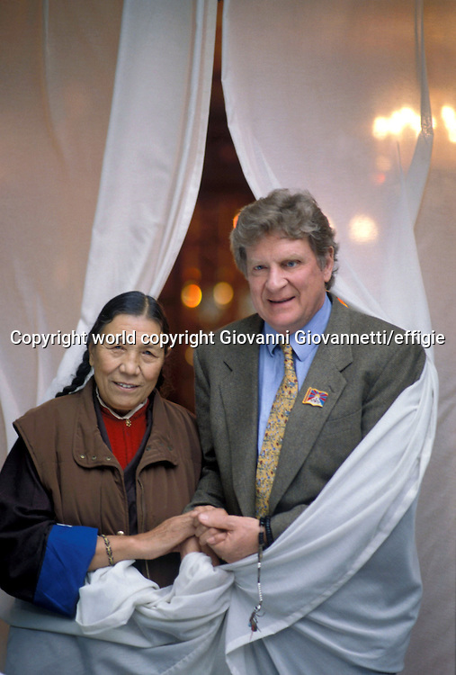 Robert Thurman con Ama Adhe<br />world copyright Giovanni Giovannetti/effigie / Writer Pictures<br /> <br /> NO ITALY, NO AGENCY SALES / Writer Pictures<br /> <br /> NO ITALY, NO AGENCY SALES