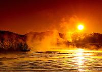 Yukon River sunrise with ice fog