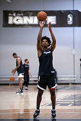 G League Ignite's Scoot Henderson shoots foul shots during a practice with the team on Tuesday, Sept. 28, 2021 in Walnut Creek, Calif.