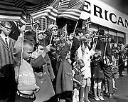 King Olav V's Seattle-area visit began with a flag-waving reception at the Seattle-Tacoma Airport. (Larry Dion / The Seattle Times, 1968)