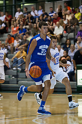 23 June 2012: Nick Painter trailed by Hunter Hill.  Illinois Basketball Coaches Association (IBCA) All Star game at Shirk Center, Illinois Wesleyan, Bloomington, IL