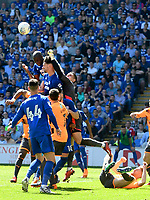 Football - 2017 / 2018 Sky Bet Championship - Cardiff City vs. Reading<br /> <br /> Sean Morrison of Cardiff City & Vito Mannone contest the ball , at Cardiff City Stadium.<br /> <br /> COLORSPORT/WINSTON BYNORTH