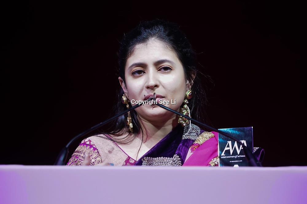 London, UK. 10th May 2017.Entrepreneur Award to Sunaina Sinha at The Asian Women of Achievement Awards 2017 at the London Hilton on Park Lane Hotel. Photo by See li Credit: See Li