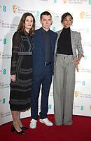 Amanda Berry, Asa Butterfield, Ella Balinska at The BAFTA Nominations, London, UK