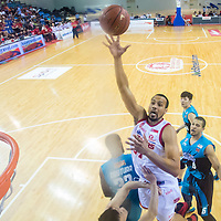 Kyle Jeffers (#31) of the Singapore Slingers shoots the ball against Westports Malaysia Dragons during the group stage match of the ASEAN Basketball League at the OCBC Arena at the Singapore Sports Hub on July 27, 2014, in Singapore.