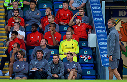 BLACKBURN, ENGLAND - Thursday, July 19, 2018: Liverpool's goalkeeper Loris Karius (in yellow) looks towards manager Jürgen Klopp as he sits on the bench after playing the first part of the game during a preseason friendly match between Blackburn Rovers FC and Liverpool FC at Ewood Park. Liverpool won 2-0. (Pic by David Rawcliffe/Propaganda)