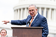 Senate Minority Leader Chuck Schumer (D-NY) speaking at an event in front of the Capitol to urge the passage of H.R. 8 universal (gun ownership) background checks legislation. Event held on the grass on the eastern side of the U.S. Capitol in Washington, DC on June 20, 2019.