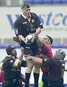 Reading, Berkshire, UK., 16th March 2002, Zurich Premiership Rugby, Madejski Stadium, England, [Mandatory Credit: Peter Spurrier/Intersport Images],<br /> <br /> Zurich Premiership-Madejski Stadium <br /> London Irish v Bristol<br /> Exiles Capt. Ryan Strudwick collects the line out ball.