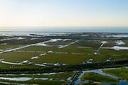 Nederland, Flevoland, Lelystad, 07-05-2018; Praamweg en spoorlijn Almere - Lelystad, zicht op Oostvaardersplassen, Oostelijk Flevoland.<br /> Eastern Flevoland.<br /> luchtfoto (toeslag op standard tarieven);<br /> aerial photo (additional fee required);<br /> copyright foto/photo Siebe Swart