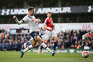 Dele Alli of Tottenham Hotspur shoots to score his sides 1st goal to make it 1-0. Barclays Premier league match, Tottenham Hotspur v Manchester Utd at White Hart Lane in London on Sunday 10th April 2016.<br /> pic by John Patrick Fletcher, Andrew Orchard sports photography.