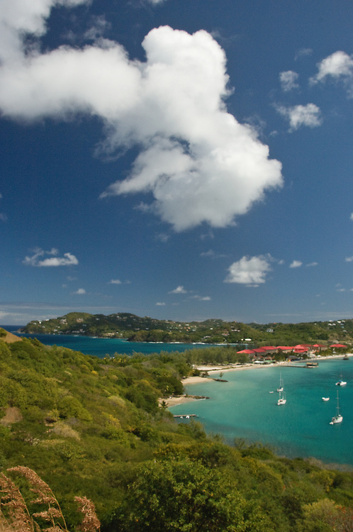 Pigeon Island, St. Lucia harbor with sailboats