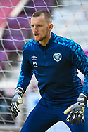 Ross Stewart (#13) of Heart of Midlothian FC during the warm up before the SPFL Championship match between Heart of Midlothian and Inverness CT at Tynecastle Park, Edinburgh Scotland on 24 April 2021.