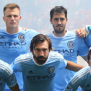 HARRISON, NEW JERSEY- JULY 24:  Andrea Pirlo, (center) #21 of New York City FC with team mates including David Villa, (right), #7 and Frederic Brillant #13, Andoni Iraola #51, Jefferson Mena #23 and RJ Allen #27 during a team photograph before the New York Red Bulls Vs New York City FC MLS regular season match at Red Bull Arena, Harrison, New Jersey on July 24, 2016 in Harrison, New Jersey. (Photo by Tim Clayton/Corbis via Getty Images)