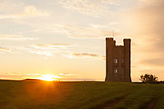 Broadway Tower on Broadway Hill at sunset, Broadway, England, UK