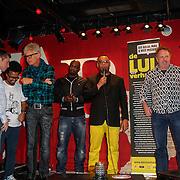 NLD/Amsterdam/20121121 - Presentatie deelnemers comedy avond Lulverhalen, howard Komproe, Cesar Zuiderwijk, Ad Visser, Feshaye Haylemariam, Bob Fosko, Andre Wilderdijk