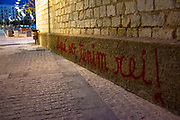 "Catalan graffiti in Girona, Catalonia: ""Aqui no tenim rei!"" - here we have no king. There was protests across Catalonia against the visit of the Spanish king, Felipe VI of Spain, when he visted the region in early November - the first time since the sentencing of Catalan politicians and civic leaders for their part in the 2017 independence referendum.  Girona, November 7 2019"