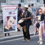 Bereaved families hold an anti knife crime protest in front of 10 Downing street and New Scotland Yard , London, UK.on 2021-09-18