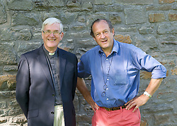 The Rev'd Canon Dr Peter Sedgwick portrait prior to his retirement party at St. Michael's College, Llandaff, Cardiff, Wales on 9th July 2015 where he was principle between 2004 and 2014. <br /> <br /> Peter Sedgwick pictured with Toddy Hoare, sculptor. <br /> <br /> Photograph by Elliott Franks
