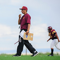 081114  Adron Gardner<br /> <br /> Tohatchi Cougar varsity football coach Doug Ballard begins a drill during practice in Tohatchi Monday.