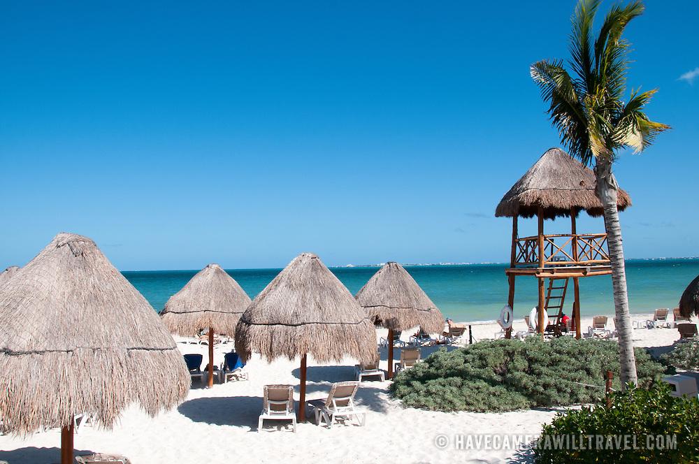 Beach cabanas at Excellence Playa Mujeres Resort at Playa Mujeres, north of Cancun, Quintana Roo, Mexico