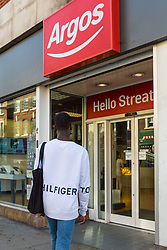 Lance enters Argos where he was unable to obtain a knife in an exercise where a 17-year-old visited numerous big brand shops on Streatham High Road in an attempt to purchase a knife to illustrate the extent of knife control and age checking in London stores. Streatham, London, August 30 2019.
