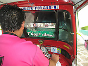 Guatemala, San Pedro La Laguna, public transport The inside of a Tricycle motor rickshaw -Tuktuk