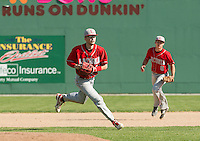 Laconia third baseman Nate Batchelder makes a throw to first during Friday afternoons varsity baseball with White Mountain at Robbie Mills Field.  (Karen Bobotas/for the Laconia Daily Sun)