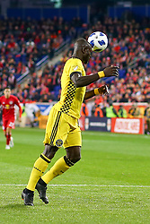November 11, 2018 - Harrisonrmas, NJ, U.S. - Harrison, NJ - NOVEMBER 11:  Columbus Crew defender Jonathan Mensah (4) heads the ball during the first half of the Major League Soccer Eastern Conference Semifinals between the Columbus Crew SC and the NY Red Bulls on November 11, 2018 at Red Bull Arena in Harrison, NJ.   (Photo by Rich Graessle/Icon Sportswire) (Credit Image: © Rich Graessle/Icon SMI via ZUMA Press)
