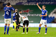 Cardiff City's Will Vaulks (6) raises his arm in victory after the EFL Sky Bet Championship match between Cardiff City and Barnsley at the Cardiff City Stadium, Cardiff, Wales on 3 November 2020.