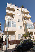 Israel, Tel Aviv, Renovated Bauhaus building at 5 Nachmani Street UNESCO has declared Tel Aviv an international heritage site because of the abundance of the Bauhaus architectural style
