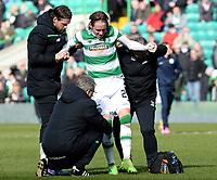06/03/16 WILLIAM HILL SCOTTISH CUP QUARTER-FINAL<br /> CELTIC v MORTON<br /> CELTIC PARK - GLASGOW<br /> Celtic's Stefan Johansen is lifted to his feet after picking up an injury
