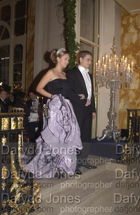 Xenia Gorbachev and her escort, Kirill Solod. . Crillon Debutantes Ball 2002. Paris. 7 December 2002. © Copyright Photograph by Dafydd Jones 66 Stockwell Park Rd. London SW9 0DA Tel 020 7733 0108 www.dafjones.com