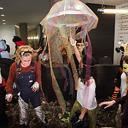 Around 40 activists dressed as animals invaded the PR firm Bell Pottinger in central London to expose their ties with fracking as part of a long running campaign against fracking by the activist group Reclaim the Power called Break the Chain.<br /> The activist spend a short while in the lobby  with zebras throwing leaves, monkeys spreading animal manure and a squid spraying 'ink' on the windows before leaving peacefully.<br /> Bell Pottinger currently represent Centrica which is a major fracking investor in the UK according to the group's press release and the company has in the past helped the fracking company Quadrilla restore their reputation.