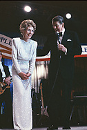 President Ronald Reagan and First Lady Nancy Reagan at an Inaugural Ball on January 20, 1985.<br /> <br /> Photograph by Dennis Brack