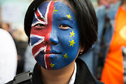 Tens of thousands of people protest in the March for Europe against Brexit demonstration following a 'Leave' result in the EU Referendum on July 2nd 2016 in London, United Kingdom. The march in the capital brings together protesters from all over the country, angry at the lies and misinformation that the Leave Campaign fed to the British people during the EU referendum. Since the vote was announced, there have been demonstrations, protests and endless political comment in all forms of media. Half of the country very displeased with the result and the prospect of being taken out of the European Union against their will, and with uncertainty as to what will happen next in the politics surrounding the exit from Europe.