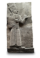 Picture & image of a Neo-Hittite orthostat showing a releif sculpture  of the Goddess Kubaba from Karkamis,, Turkey. Ancora Archaeological Museum. 10 In her right hand she is holding a pomegranate