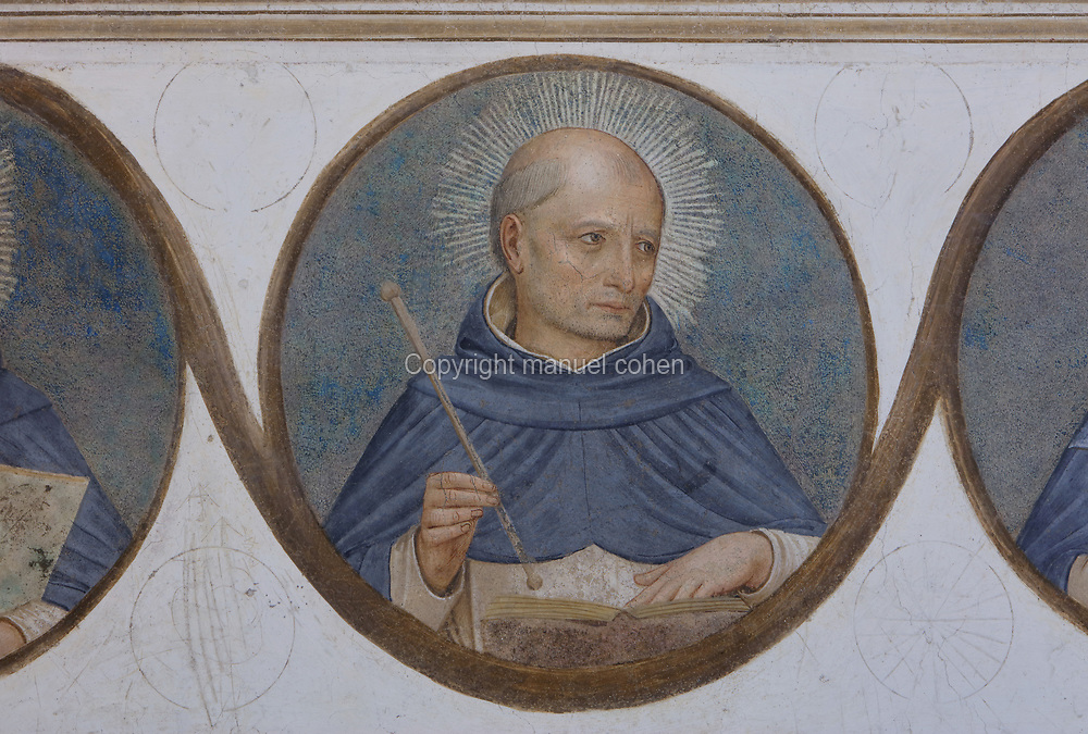 Jordan of Saxony, second master general of the order after St Dominic, 1190-1237, detail from the bottom frieze of portrait medallions of Dominican genealogy, painted by Benozzo Gozzoli, 1421-97, Fra Angelico's assistant, from Crucifixion with Saints, Renaissance fresco, 1441-42, by Fra Angelico, 1395-1455, from the North tympanum opposite the chapter house entrance in the Convento San Marco, now the Museo di San Marco, in Florence, Tuscany, Italy. The painting depicts the crucifixion of Jesus and the 2 thieves, with saints in mourning. Picture by Manuel Cohen