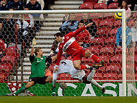 Photo. Jed Wee, Digitalsport<br /> Middlesbrough v Bolton Wanderers, Barclays Premiership, 07/11/2004.<br /> Middlesbrough's Mark Viduka hits the angle of post and bar with his first touch of the ball.