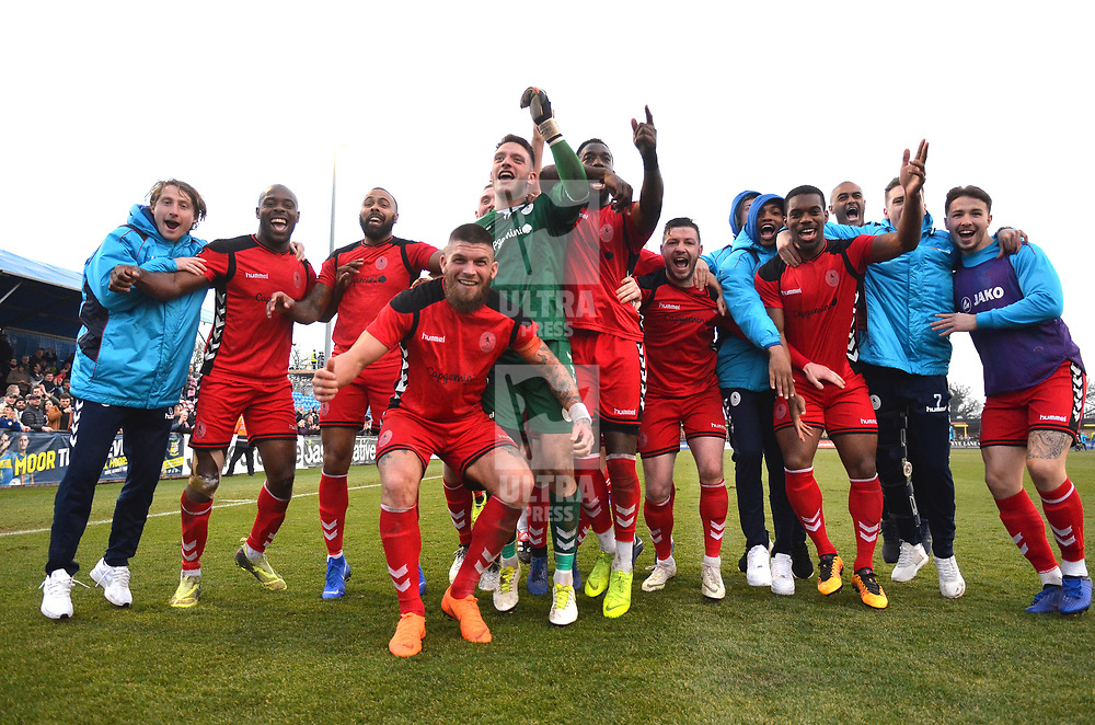 TELFORD COPYRIGHT MIKE SHERIDAN 23/2/2019 - AFC Telford celebrate at full time after the FA Trophy quarter final fixture between Solihull Moors and AFC Telford United at the Automated Technology Group Stadium
