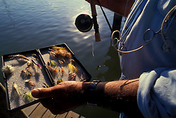 Stock photo of fisherman holding a box of saltwater flyfishing lures