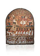 """Ancient Egyptian stele of scraftsman Minhotep in adoration of Osiris, limestone, New Kingdom, 18th Dynasty, (1336-1292 BC), Deir el-Medina, Drovetti cat 1619. Egyptian Museum, Turin. white background<br /> <br /> The stele is dedicated to Osiris, Anubis and Hathor """"Mistress of the World"""". .<br /> <br /> If you prefer to buy from our ALAMY PHOTO LIBRARY  Collection visit : https://www.alamy.com/portfolio/paul-williams-funkystock/ancient-egyptian-art-artefacts.html  . Type -   Turin   - into the LOWER SEARCH WITHIN GALLERY box. Refine search by adding background colour, subject etc<br /> <br /> Visit our ANCIENT WORLD PHOTO COLLECTIONS for more photos to download or buy as wall art prints https://funkystock.photoshelter.com/gallery-collection/Ancient-World-Art-Antiquities-Historic-Sites-Pictures-Images-of/C00006u26yqSkDOM"""