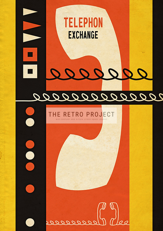 Telephon' Exchange Retro Mid Century Continental Communications illustration with geometric surround