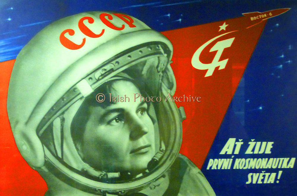 Soviets in Space poster, 1963.  'Long live the world's first female cosmonaut', a Soviet poster (in Czech) celebrating Valentina Tereshkova who orbited the Earth in Vostok 6, in June 1963.   It was 19 years before another female cosmonaut took to the skies.