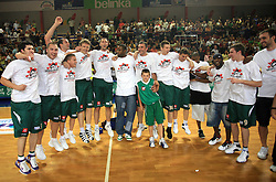 Celebration of Union Olimpija after fourth (last) final match of UPC Telemach league and Slovenian  National Championship  between KK Helios Domzale, Domzale and Union Olimpija, Ljubljana, Slovenia, on June 7, 2008, in Komunalni center hall in Domzale. Match was won by Union Olimpija 84:60 and Olimpija became National Champion 2007/2008 fourteen times in history of Slovenia. (Photo by Vid Ponikvar / Sportal Images)
