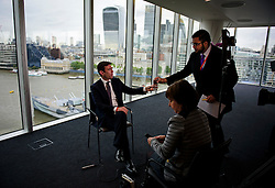 © London News Pictures. 29/05/2015. ANDY BURNHAM during  a TV interview after his speech. ANDY BURNHAM MP, Labour leadership candidate, delivers a speech on the economy in central London. Andy Burnham is one the favourites to take over as Labour Party leader following the resignation of Ed Miliband after a heavy general election defeat. Photo credit: Ben Cawthra/LNP